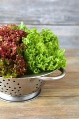 Green salad in a colander