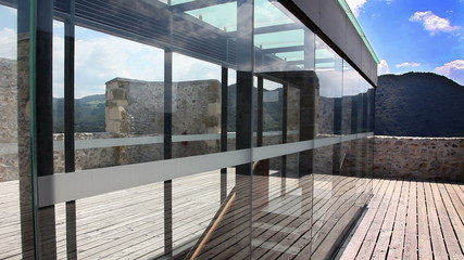 Shot of the glass wall on the castle of Celje
