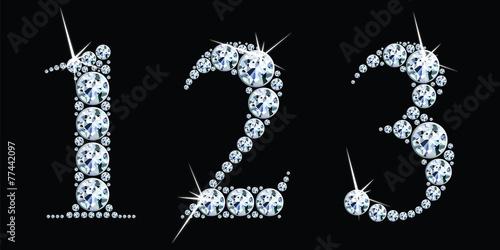 Diamond numbers set 1, 2, 3. Vector Eps10 - 77442097