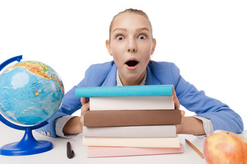 Closeup portrait surprised overwhelmed student