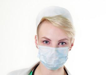 nurse in a gauze bandage