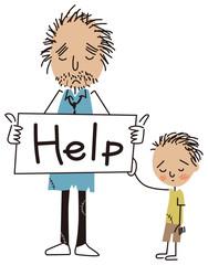 助けを求める貧しい親子