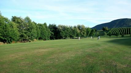Crane shot of the sceneric golf course