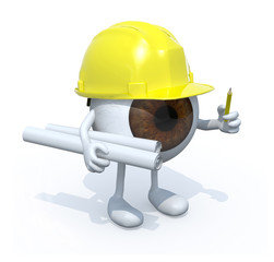 eyeball architect with hard helmet
