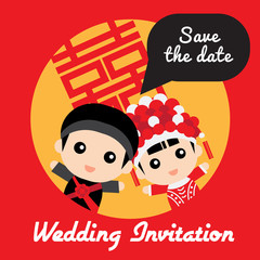 Illustration of cute couple in traditional chinese wedding costu