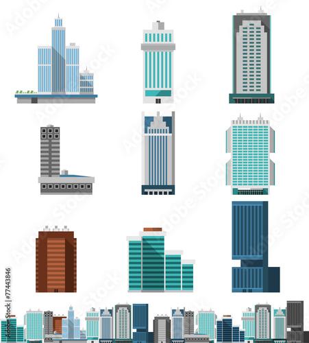 Skyscraper Offices Set - 77443846
