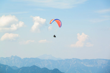 Paraplane in the sky above the  Alps