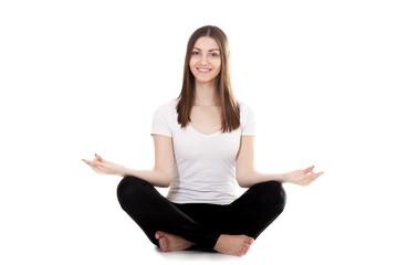 Beautiful yogi female squat cross-legged