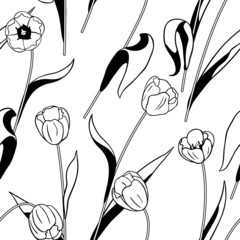 Black and white tulips pattern