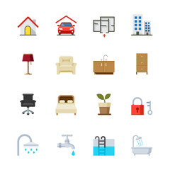 House and Real Estate Icons : Flat Icon Set