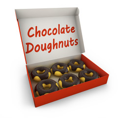 chocolate donuts in the box