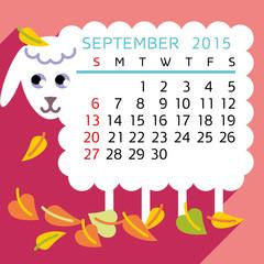 calendar SEPTEMBER 2015 sheep