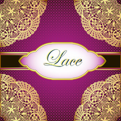 background with gold lace and place for text