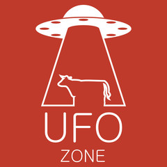 Vector ufo zone logo on red background