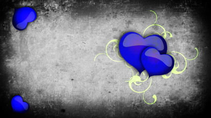 Animated blue hearts with vines on a grey concrete look background