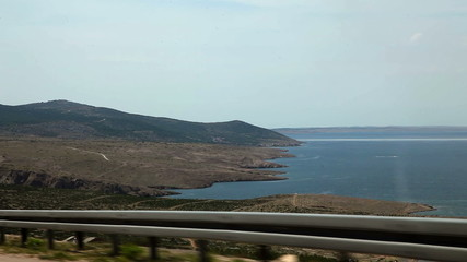 Shot of the landscape made from the driving car