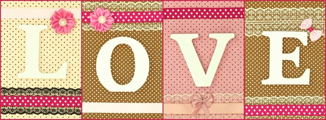 Wooden letters forming word love on polka dots background