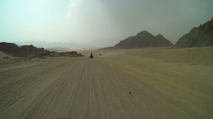 Tourist location in Egypt, driving through deserts in Sinai Peninsula and elsewhere