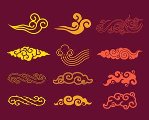 Korean Clouds Pattern Sets. Korean traditional Pattern Design Se