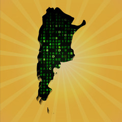 Argentina sunburst map with hex code illustration