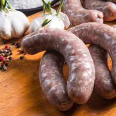Home-made white sausage out pigs and calf meat