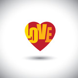 human heart icon and love words inside it - simple vector graphi poster