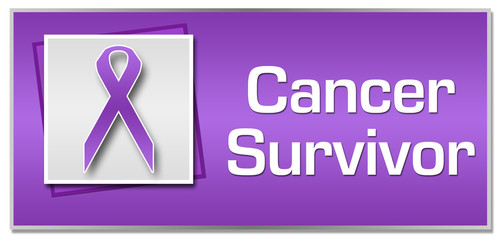 Cancer Survivor Purple Ribbon Square
