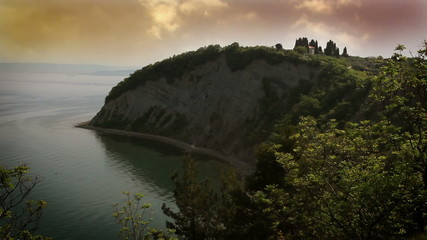 Still shot of a cliff in the evening