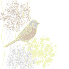 Vector illustration of cartoon bird and flowers. Invitation or g