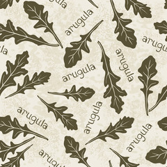 Seamless pattern with arugula. Hand-drawn floral background. Mo