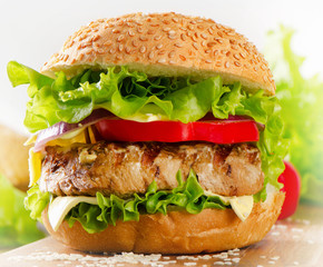 Homemade hamburger with beef and  vegetables.