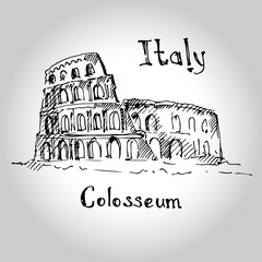 Great Colosseum, Rome, Italy. Sketch.