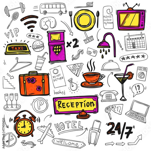 Obraz na Plexi Hotel service icons doodle sketch