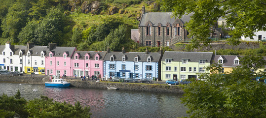 Multicolored houses in Portree. Skye isle. Scotland. UK