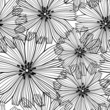 Black and white  seamless pattern of abstract flowers.