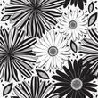 Monochrome  seamless pattern of abstract flowers. Floral vector