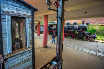 antique train transport tourist to visit in Dalat