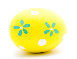Painted yellow easter egg isolated