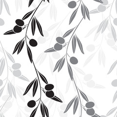 Seamless monochrome pattern with olive branches.
