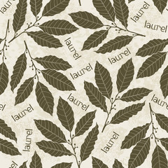 Seamless pattern with laurel. Hand-drawn floral background. Mon