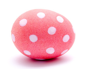 Painted pink easter egg isolated
