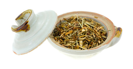 St. Johns Wort in a bowl with lid