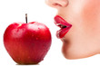 sexy woman eating red apple, sensual red lips