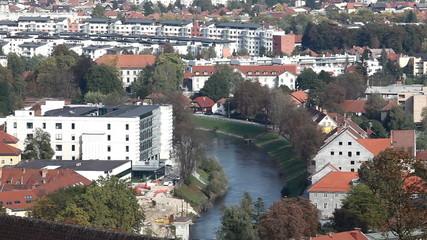 Ljubljana and Ljubljanica river panorama