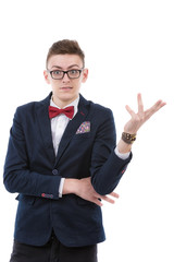 businessman confused unsure expression, unexpected hand gesture