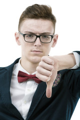 close-up of a disappointed young business man showing thumb down