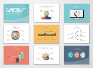 Business presentation templates and infographics vector elements