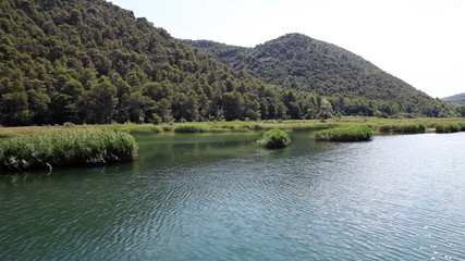 Shot of river Krka-Croatia made from the floating boat