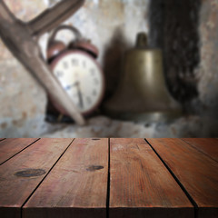 Wooden table in garden for product display montage