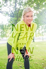 Composite image of active smiling blonde pausing after a run